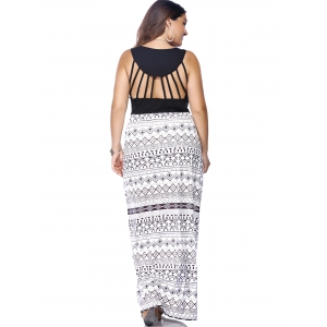 Plus Size Criss Cross Print Maxi Dress -