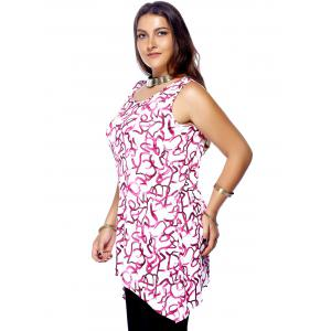 Plus Size Sleeveless Scoop Neck High Low Printed Women's Top -