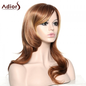 Stylish Adiors Curly Long Inclined Bang Synthetic Wig For Women - COLORMIX