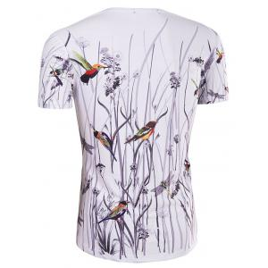 Hot Sale 3D Bird and Flower Printed Round Neck Short Sleeve T-Shirt For Men - COLORMIX 2XL