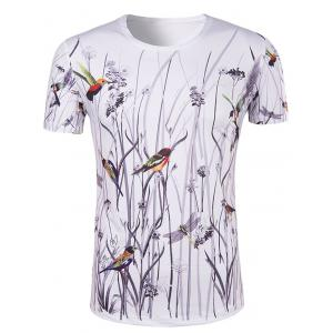 Hot Sale 3D Bird and Flower Printed Round Neck Short Sleeve T-Shirt For Men - Colormix - Xl