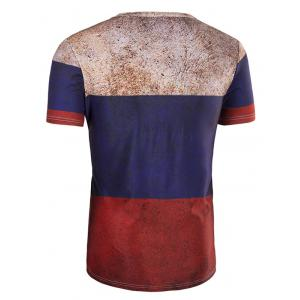 3D Retro Color Block Round Neck Short Sleeve T-Shirt For Men - COLORMIX 2XL