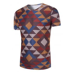 3D Printed Round Neck Short Sleeve T-Shirt For Men - COLORMIX 2XL