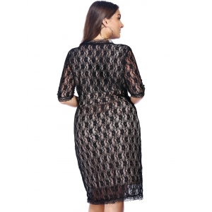 Empire Waist Lace Bodycon Plus Size Cocktail Dress - BLACK 3XL