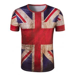 3D Retro Flag Round Neck Short Sleeve T-Shirt For Men