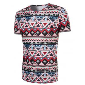 3D Geometry Printed Round Neck Short Sleeve T-Shirt For Men -