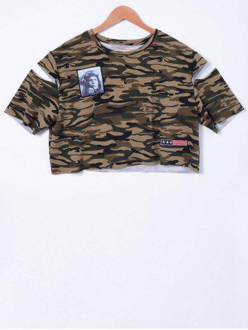 Discount Fashionable Camouflage Cold Shoulder Top For Women CAMOUFLAGE S