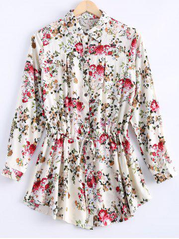 Sale Vintage Long Sleeves Floral Print Shirt Dress For Women