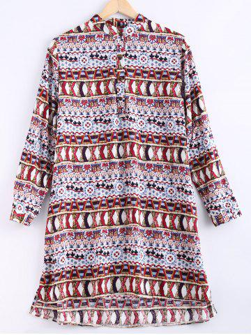 Unique Ethnic Style Round Collar Printed Shirt Dress For Women