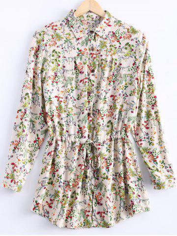 Outfit Vintage Long Sleeves Drawstring Waist Floral Shirt Dress For Women