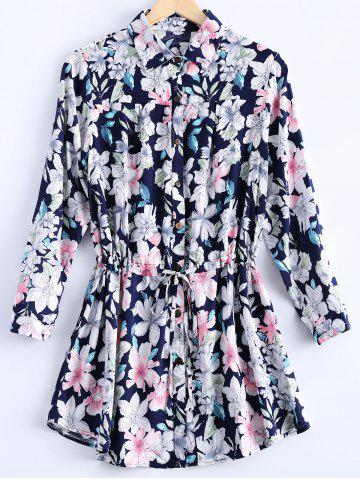 Store Vintage Loose-Fitting Floral Print Shirt Dress For Women