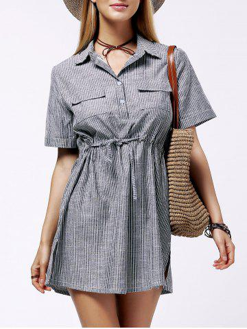 Best Plus Size Shirt Collar Striped Linen Dress GRAY 3XL