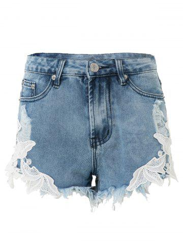 Fancy High-Waisted Lace Spliced Ripped Jean Shorts - L BLUE Mobile