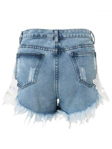 Trendy High-Waisted Lace Spliced Ripped Jean Shorts - L BLUE Mobile