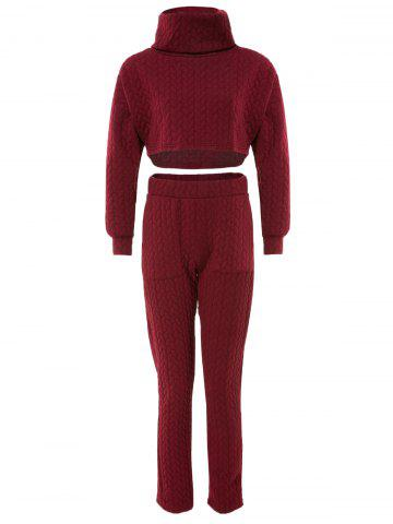 New Stylish Turtleneck Solid Color Crop Top and High Waist Bodycon Pants Twinset For Women WINE RED S