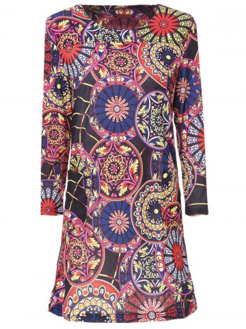 Outfits Stylish Scoop Neck 3/4 Sleeve Slimming Printed Women's Dress COLORMIX M