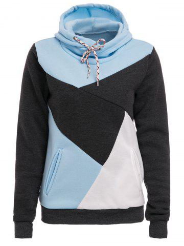 Chic Hooded Long Sleeve Color Block Pocket Design Women's Hoodie - Blue And White - Xl