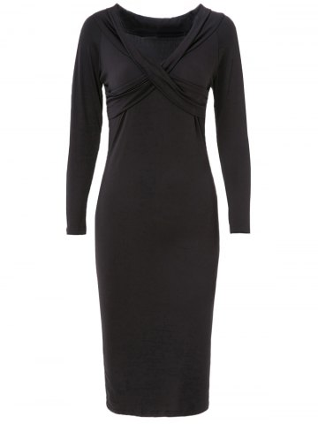 Online Women's Chic Pure Color Long Sleeve V-Neck Dress BLACK XL