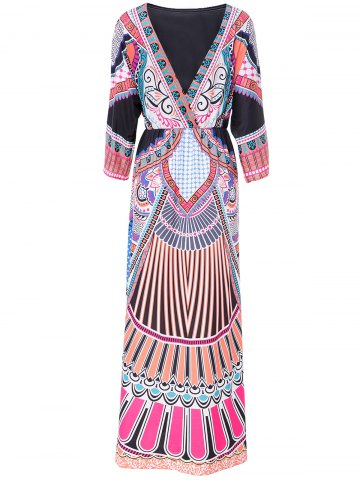 Store Bohemian Plunging Neck 3/4 Sleeve Tribal Print Women's Dress