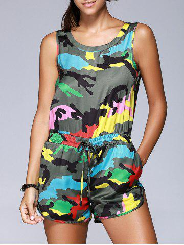 Online Fashionable Camouflage Printing Sleeveless Drawstring Romper For Women