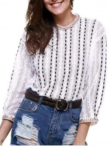 Outfits Elegant Round Neck Openwork Lace Long Sleeves Blouse For Women