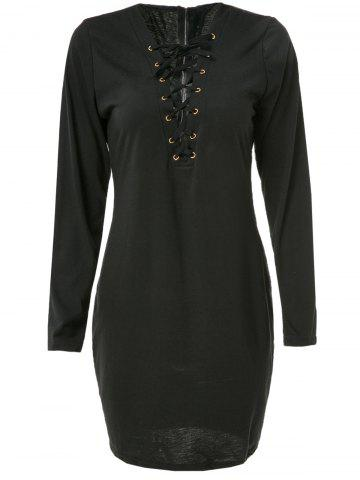Sexy Plunging Neck Long Sleeve Black Lace-Up Hollow Out Women's Dress