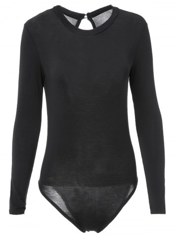 Sexy Black Long Sleeve Bodycon Back Hollow Out Bodysuit For Women - BLACK M