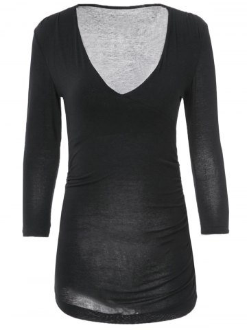 Shop Sexy V-Neck 3/4 Sleeve Solid Color Fitted T-Shirt For Women