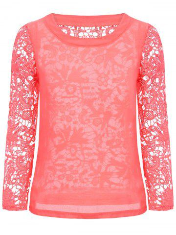 Fashion Stylish Round Neck Long Sleeve Hollow Out Solid Color Women's Blouse WATERMELON RED M