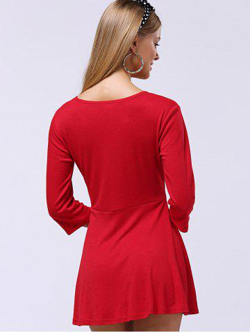 New Sweet Button-Down Skater Sweater Dress - XL RED Mobile