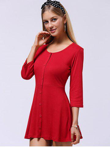 Sale Sweet Button-Down Skater Sweater Dress - XL RED Mobile