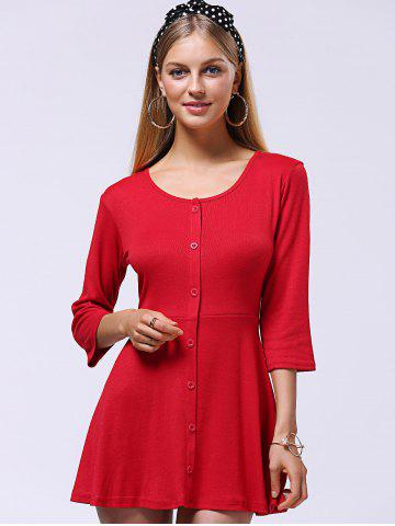 Shops Sweet Button-Down Skater Sweater Dress - XL RED Mobile