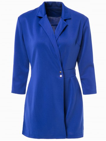 Sexy Lapel Solid Color 3/4 Sleeve Romper For Women - Blue - M