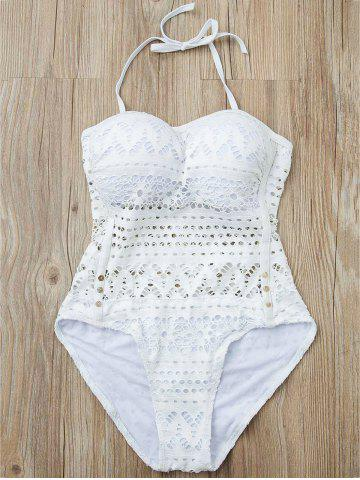 Shop Stylish Halter Hollow Out Mesh Spliced One-Piece Swimsuit For Women