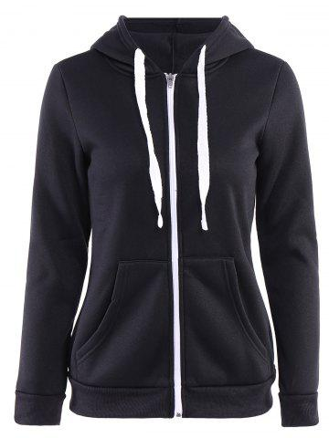 Buy Stylish Hooded Long Sleeve Zip Up Solid Color Women's Hoodie