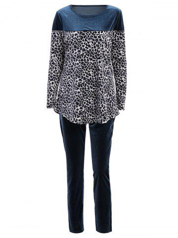 Stylish Jewel Neck Long Sleeve Leopard Print T-Shirt + Elastic Waist Pants Women's Twinset - Blue - L