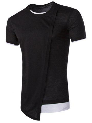 Shops Asymmetric Top Fly Color Spliced Round Neck Short Sleeves Slimming T-Shirt For Men - 2XL BLACK Mobile
