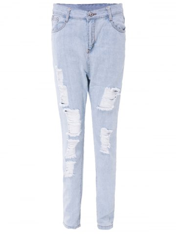 Stylish High-Waisted Ripped Frayed Slimming Women's Ninth Jeans - LIGHT BLUE L