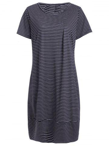 Latest Casual Jewel Neck Short Sleeve Striped Dress For Women