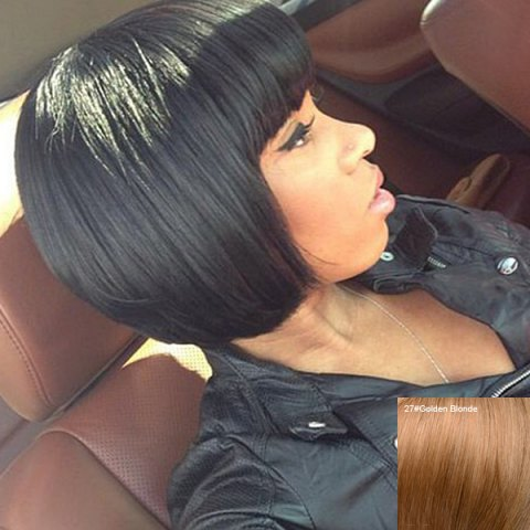 Online Boutique Short Full Bang Bob Style Women's Human Hair Wig GOLDEN BLONDE