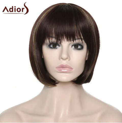Affordable Stylish Adiors Full Bang Straight Synthetic Bob Wig For Women COLORMIX