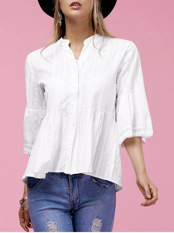 Outfit Buttoned Flare Sleeve Peplum Shirt WHITE L