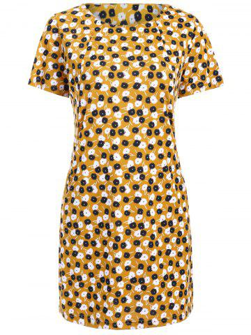 Latest Stylish Jewel Neck Dandelion Print Short Sleeve Dress For Women
