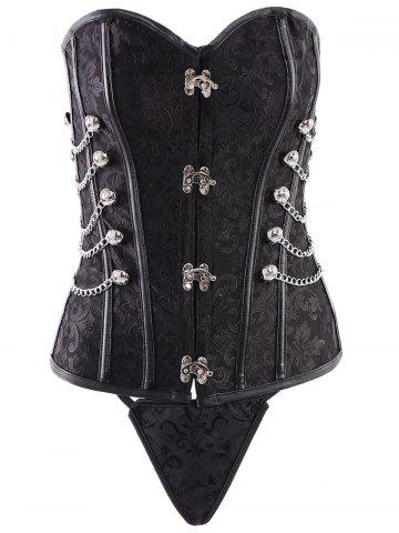 Fancy Vintage Steampunk Alloy Chain Design Lace-Up Corset For Women BLACK 5XL