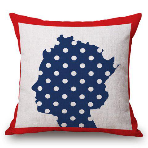 Trendy Creative Polka Dot Queen Pattern Square Shape Pillowcase - RED AND WHITE AND BLUE  Mobile