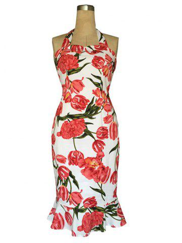 Discount Chic Halter Mermaid Floral Print Backless Sheath Dress For Women