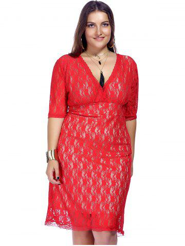 Outfit Empire Waist Lace Bodycon Plus Size Cocktail Dress - 3XL RED Mobile