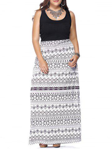 Cheap Plus Size Criss Cross Print Maxi Dress