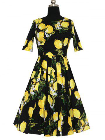Discount Refreshing Women's Lemon Pattern Pleated Dress
