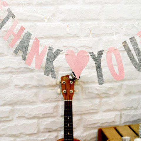 Online Set of Fashion Thank You Letters Garland Flags For Party Decoration Supplies - PINK + GRAY  Mobile